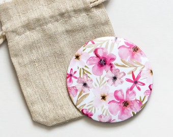 Floral Pocket mirror Illustration Watercolour - beauty accessories - gift idea