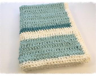 Handmade Teal & Cream Chenille Blanket