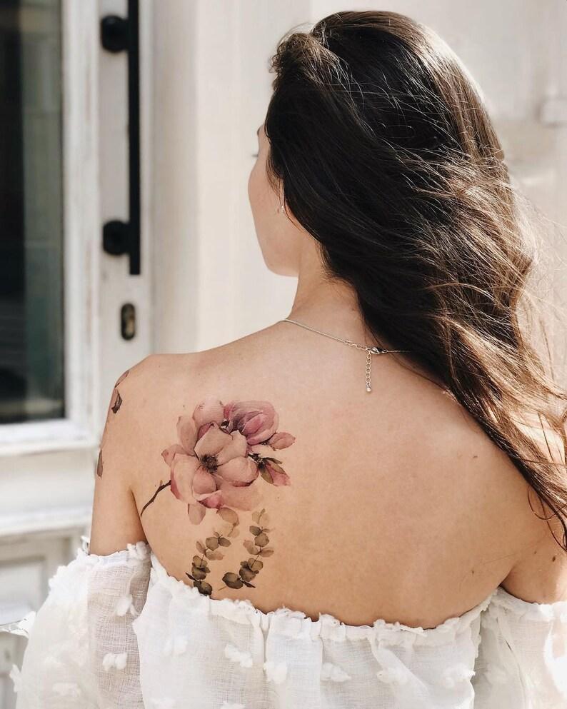 f7fcbdf0a Date night tattoo / Pale Peony Flash Tattoo / Large floral | Etsy