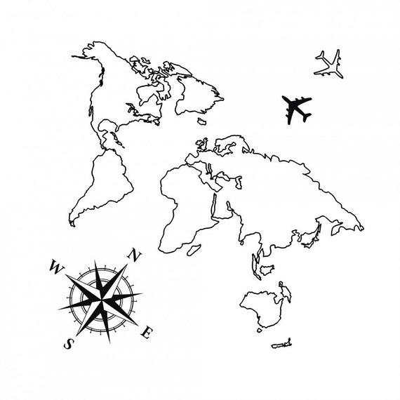 Carte Du Monde Tatouage Temporaire Avion Flash Tattoo Poignet Tatouage Pour Les Voyageurs Vent Compass Rose Wanderlust Couple Tatouage Set
