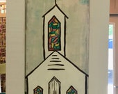 Tall rustic church painti...