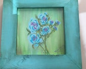 Framed teal floral painti...