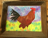 Rustic Framed Roosters in Acrylic