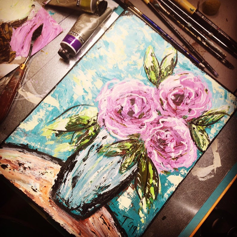 Palette Knife Rose Painting Tutorial image 0