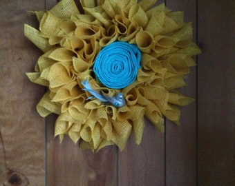 Yellow and Blue Burlap Wreath with Bird accent