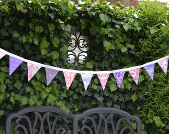 Handmade Fabric Bunting Pink Mauve White Pretty Floral Liberty Design 20 Double Sided Small Flags For Home Garden And More