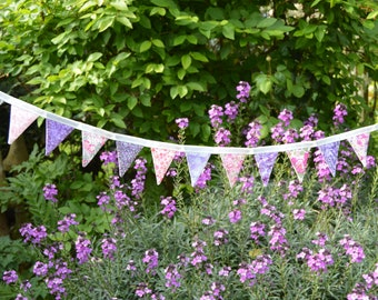 Handmade Fabric Bunting Pink Mauve White Floral Liberty Design 20 Double Sided Mini Flags For Home Garden And More