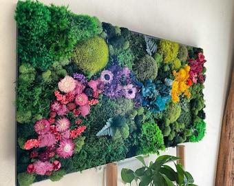 Small Moss Wall Art. Moss Wall. Preserved Moss. Vertical Garden. Art Home Decor. Art with Flowers. Large home decor.
