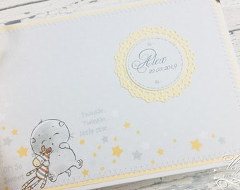 Classic baby album for birth or baptism   Neutral Scrapbook Reminder Book   Personalised photo book with cats   Boy/Girl
