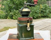 Coffee grinder London Pottery David Birch, ceramic pot, coffee box with lid, green container, Great Britain, jar with lid