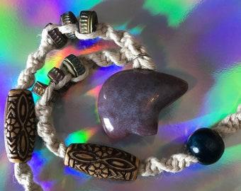 Purple Jasper Bear Hemp Necklace
