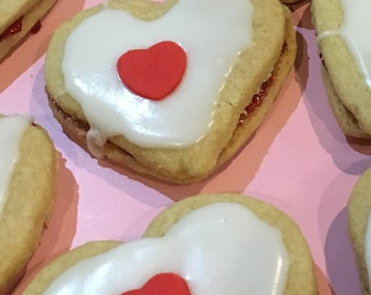 Heart Shaped Empire Biscuits - Yummy & Traditional X 6