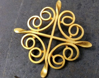 4cc7fb960 Goldtone Cross Brooch Vintage Jewelry. Very good condition cross with curls  geometric design vintage scarf pin with rollover safety clasp.