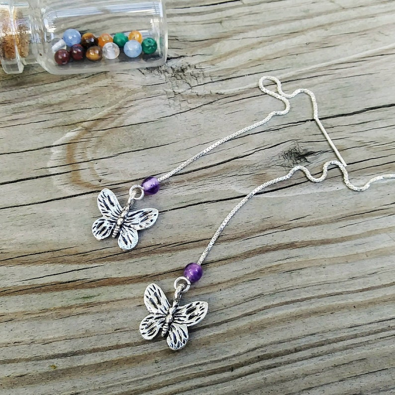 6f4bce1ee Interchangeable Gemstone Threader Earrings 925 Sterling Silver | Etsy