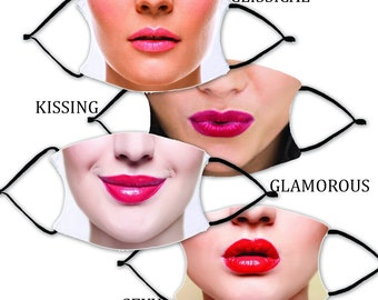 Choose Your LIPS MASKS with 2 Filters optional. Nose Wire included.  Adult Face Mask - Designed and finished in USA