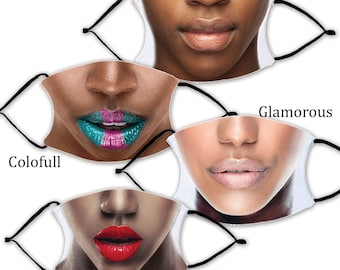Choose Your LIPS MASKS with 2 Filters optional. Nose Wire included.  Adult & Child Face Mask - Designed and finished in USA