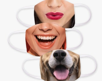 Choose Your FUNNY MASKS with 2 Filters optional. Nose Wire included.  Adult & Child Face Mask - Designed and finished in USA