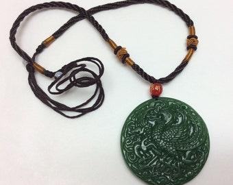Elegant, Beautiful Jade Green Color Necklace Pendant, Good Luck Amulets, 5 Styles, Phoenix Bird, Fish, Dadufo Buddha, Dragon (Nec 13-17)