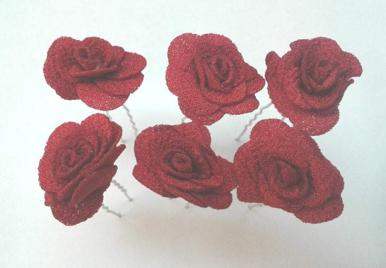 Red Foam Roses Wedding Bridesmaids Accessory for Bride Mother Grandmother Beautiful Roses Hair Pin Set of 6 Elegant HP17