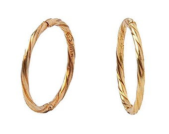 242d7e7bf 22K Gold over Solid Sterling Silver Twisted Hinged Hoop Earrings, Unisex