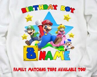 3793cc184 Super Mario Bros Birthday Custom Long Sleeves T-shirt. Super Mario Birthday  Family matching T-shirts.