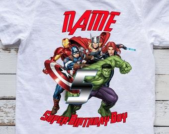 92638c39 Super Heroes Birthday Shirt. Super Heroes Birthday Family matching T-shirts.  Super Heroes shirt. Super Heroes custom party tops.