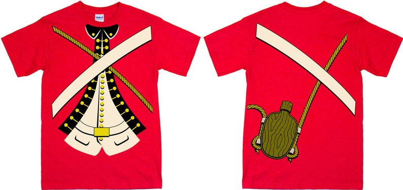 British Royal Army Red Coats Double Sided Uniform Tee Shirt image 0