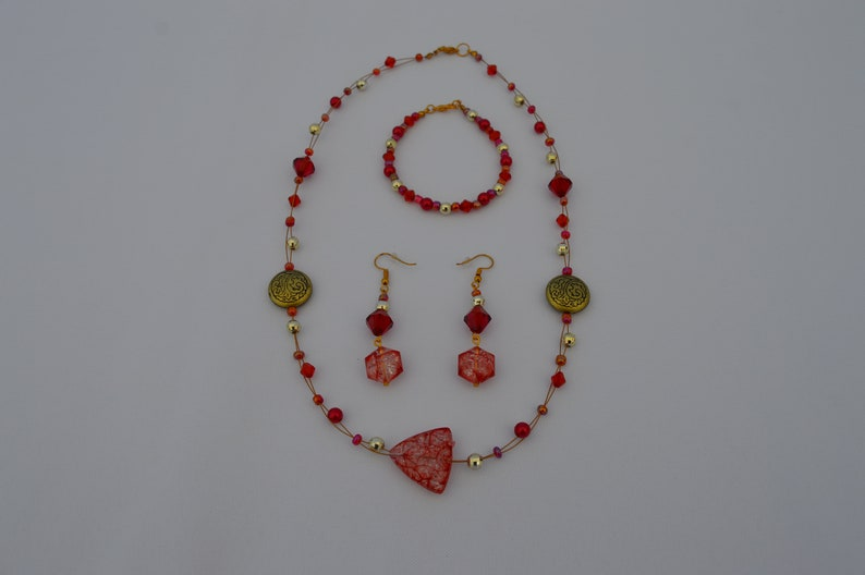 red beads red crystals red jewelry wedding jewelry red necklace red bracelet Red Floating Necklace Set red earrings red pearls