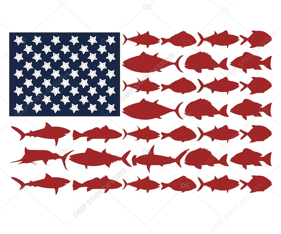 Download American Flag Fish Svg 4th Of July Svg Memorial Day Svg Etsy