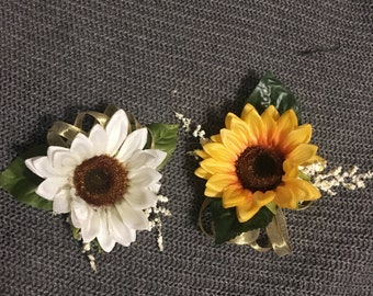 White and Yellow Sunflower Corsage