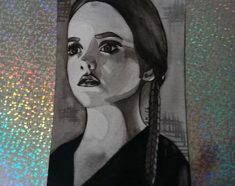 4x6 Wednesday Addams watercolor print, Addams family
