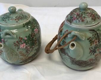 Vintage 2 Japanese Floral Green Tea Pots