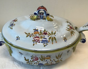 Italian Floral Casserole Bowl w/Cover Spoon Marked