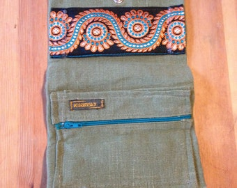 Tobacco bag olive Green Hemp Linen