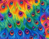 Rainbow Peacock Feathers Fabric by Timeless Treasures, 100 Cotton