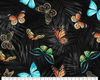 SOLD by the FULL YARD! Big Blue Butterflies cotton fabric