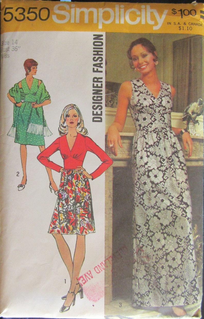 8df1164508 Simplicity 5350 1970s Misses Dress   Shawl Sewing Pattern Size