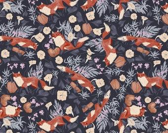 Toil & Trouble Foxy Graphite Fabric By Dear Stella, 100% Cotton, Fabric By The Yard, Fox Fabric