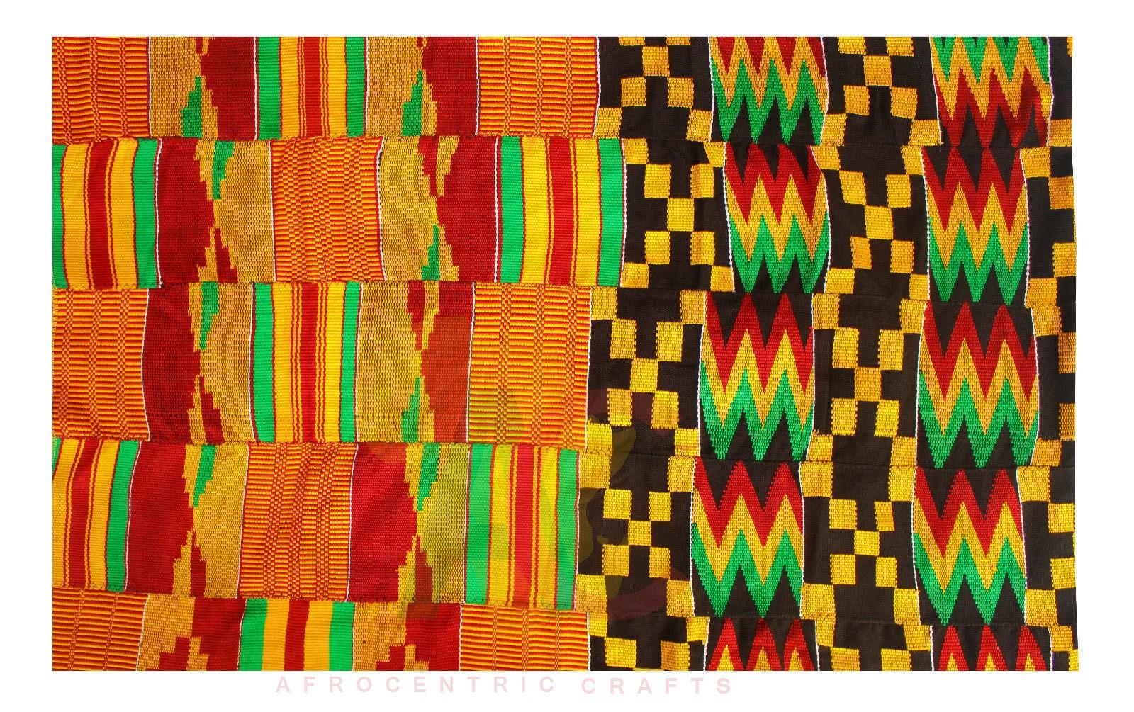 Kente Kente Kente tissé à la main en tissu Asante du Ghana africain Art Ashanti Textile tissu 6 yards f3afe2