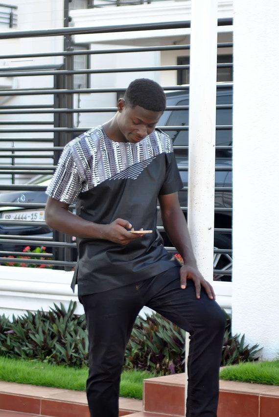 Blue & Gold Men's Long Sleeve Shirt African Clothing African Fashion Men's Wear