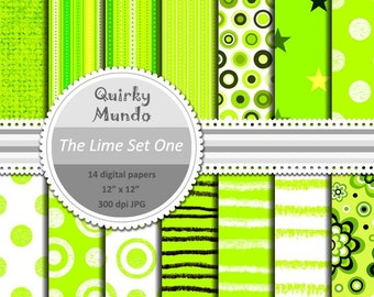 The Lime Set One - printable craft papers with a variety of pattern styles