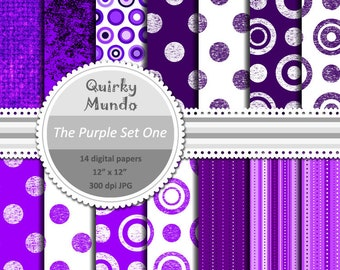 The Purple Set One - printable craft papers with a variety of pattern styles