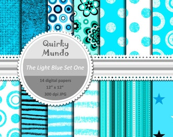 The Light Blue Set One - printable craft papers with a variety of pattern styles