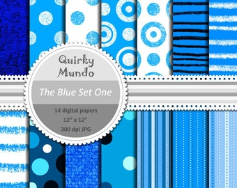 The Blue Set One - printable craft papers with a variety of pattern styles