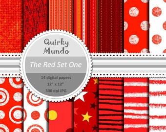 The Red Set One - printable craft papers with a variety of pattern styles