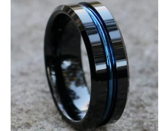 Blue Tungsten Ring Etsy