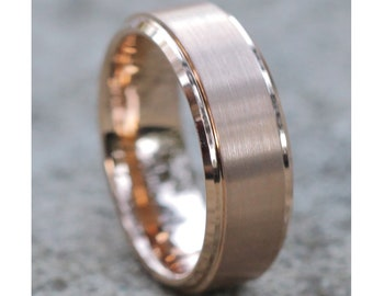 Men's Rose Gold Tungsten Ring, Tungsten Wedding Band ,Men & Women, Tungsten Carbide Ring, Rose Golf Wedding Band, Comfort Fit, 18k Rose