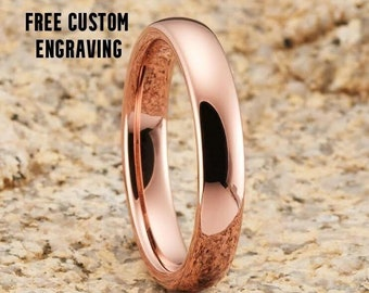 Rose Gold Tungsten Ring, 4mm Rose Gold Tungsten, 18k Rose Gold, Tungsten Carbide, Men & Women, Anniversary Ring, Engagement Ring, Dome Ring