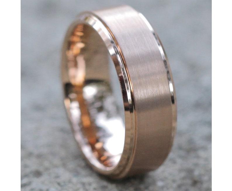 Men's Rose Gold Tungsten Ring Tungsten Wedding Band Men image 1