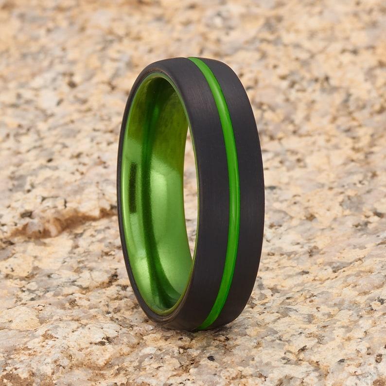 Black Tungsten Wedding Ring,Green Tungsten Ring,Anniversary Ring,Unique Tungsten Ring,Green Wedding Ring,Dome Tungsten Ring,Comfort Fit